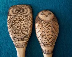 Wood burned Owl spoons set of 2 by littlesisterscrafts on Etsy, $30.00