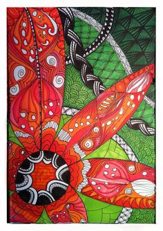 Zentangle flower orange