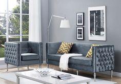 TOV Furniture Bryn Grey Velvet Sofa