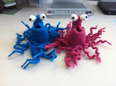 I hooked up a pair of Sesame Street Yip Yips, love these guys!! Yip Yip Yip uh huh uh huh. http://dearestdebi.com/crochet-sesame-street-yip-yip
