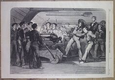 "Naval Instruction On Board H.m.s. The ""Britannia,"" Portsmouth.- Lessons In Gunnery., English. Matt. S. Morgan, W. Thomas Sc. (Published: The Illustrated London News 1859-09-17 London)"