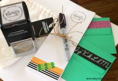 These teacher notes were created in a flash with a stamp from @expressionery and some washi tape from @scotchproducts