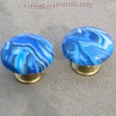 Blue swirl polymer clay brass knobs   ArtmakersWorlds - Housewares on ArtFire