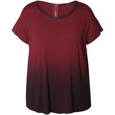 Devoted by Dex Wine Dip-Dye Zipper Top ($30) ❤ liked on Polyvore featuring plus size women's fashion, plus size clothing, plus size tops, plus size and dex
