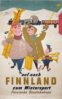 A ruddy family cheerfully arrive off the train in Finland for a skiing holiday in a 1950 poster Vintage Ski Posters, Retro Poster, New Poster, Vintage Ads, Family Poster, Winter Illustration, Travel Illustration, Graphic Design Illustration, Travel Ads