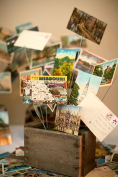 centerpieces with postcards