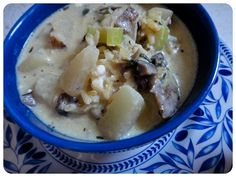 Creme of Mushroom Potato Celery Soup - made with Annie's organic worcestershire sauce and Annie's organic dijon mustard