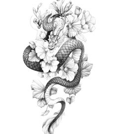 Dragon Tattoo With Flowers, Baby Dragon Tattoos, Dragon Tattoo Drawing, Dragon Tattoo Back, Small Dragon Tattoos, Chinese Dragon Tattoos, Dragon Tattoo For Women, Dragon Sleeve Tattoos, Flower Tattoo Back