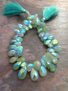 Soft Apple Green AB Chrysoprase Faceted Pear Gemstone Beads, 9mm, Aurora Borealis. Apple Green. Qty 12 Beads, 1/4 Strand. via Etsy