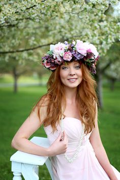 Spring Spring Wedding Inspiration Floral Crown Orchard Purple Lilac 19