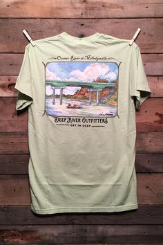 Oconee River at Milledgeville, Georgia available in two colors, short and long sleeve pocket tees.