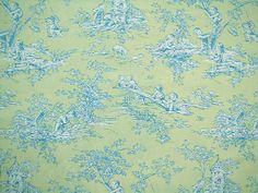 blue & green toile wallpaper