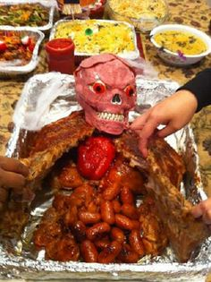 Meat Man - ham head, two sets of ribs, small sausages, red pepper