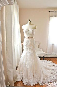 French Lace Wedding Dress, FREE Bridal Garter, French Chantilly Lace Applique, Sweetheart, Wedding Dresses , Wedding Belt, Bridal Sash
