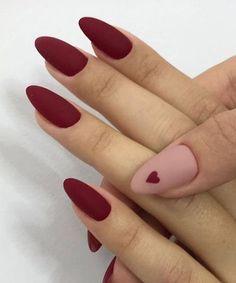Almond nails heart nails matte nails burgundy nails valentine s nails the best winter nail art design ideas Elegant Nail Art, Elegant Nail Designs, Trendy Nail Art, Nail Art Designs, Nails Design, Acrylic Nails Natural, Red Acrylic Nails, Red Nail, Nail Nail