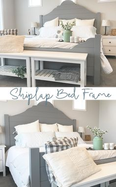 Shiplap Bed Frame Tutorial for the Home Bedroom #BeddingIdeasMaster