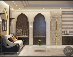 Luxury Arabic parametric office on Behance Indian Home Decor, Luxury Home Decor, Luxury Interior Design, Luxury Homes, Modern Bedroom Design, Contemporary Bedroom, Arabian Decor, Islamic Decor, Moroccan Interiors