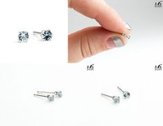 3mm Tiny Aqua Baby Blue Aquamarine Gemstone Stud Earrings in Sterling Silver - March Birthstone