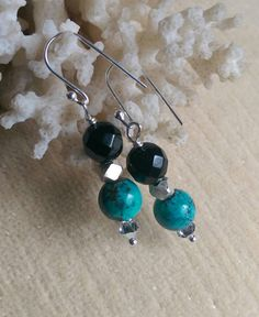Genuine Turquoise and Black Onyx earrings!  Handcrafted with Sterling Silver and twinkling silvery Swarovski crystals!!!  Check out this item in my Etsy shop https://www.etsy.com/listing/271917896/genuine-turquoise-black-onyx-sterling