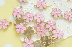 5 pcs Sakura Cherry Blossom  Charm 13mm Pink AZ219 by misssapporo