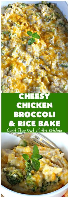 Cheesy Chicken Broccoli and Rice Bake – Can't Stay Out of the Kitchen Chicken And Rice Crockpot, Chicken Broccoli Rice, Chicken Recipes, Broccoli Cauliflower, Casserole Dishes, Casserole Recipes, Healthy Family Dinners, Dinner Healthy, Family Recipes