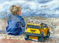 "Beach Boy with Yellow Hummer Truck, Seashells, Blue Shirt and Shorts, Children Watercolor Painting Art Print, Wall Art ""Bird Tales"" by Stein by steinwatercolors on Etsy https://www.etsy.com/listing/91028229/beach-boy-with-yellow-hummer-truck"