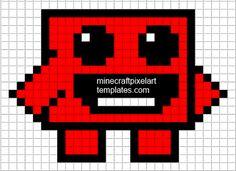 Minecraft Pixel Art Templates: Super Meat Boy