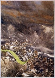 """""""The Elves were the first to charge. Their hatred for the goblins is cold and bitter. Their spears and swords shone in the gloom with a gleam of chill flame, so deadly was the wrath of the hands that held them."""" - The Hobbit ('The Clouds Burst,' Alan Lee)"""