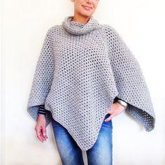 Patrón patrón de Poncho fácil el Poncho Crochet Poncho