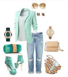 Mint blazzer & boyfriend jeans