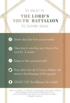 President Nelson's address to the youth. June 3, 2018. To Enlist in The Lord's Youth Battalion to Gather Israel. LDS