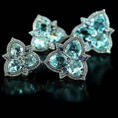@Regrann from @ivy_newyork -  IVY ear pendants aquamarine and diamonds!