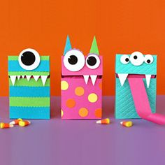 Flip top monster boxes are fun for Halloween or any time of year.