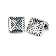 """Square """"X"""" Cufflink // Silver"""