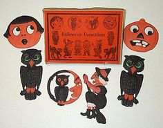 1920s german halloween decorations box with 6 original die cuts - German Halloween Decorations