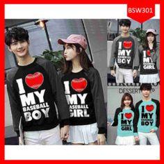 Fashion Sweater Couple I love Baseball Terbaru