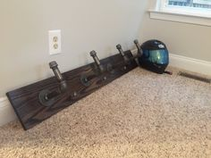 Industrial motorcycle helmet rack