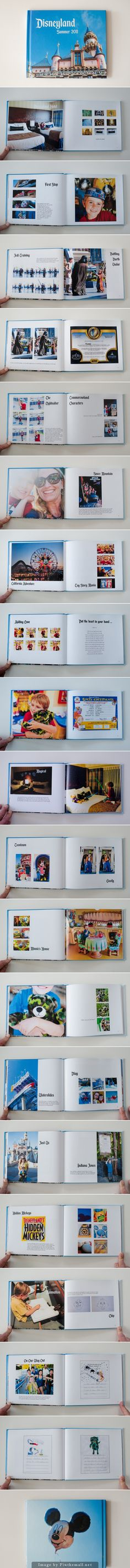 Disney Photo Book | I like her idea of scanning in memorabilia instead of gluing it in the book or putting it in a pocket