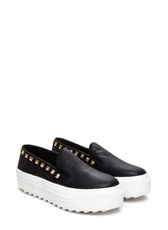 Scale Up Slip-On Platform Sneakers BLACK