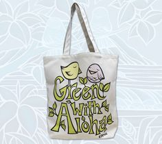 Hawaii Artist Heather Brown releases new Green with Aloha Bird Pals Tote Bag. HeatherBrownArt.com #heatherbrown #birds #totebag #aloha