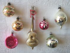 Vintage Christmas ornaments | Selection of seven vintage glass Christmas tree ornaments including a ...