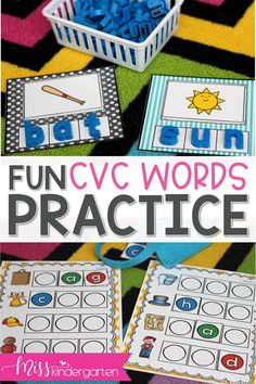 Fun and engaging CVC activities for your kindergarten students and struggling readers to use during small groups or centers! These games and printables are perfect for literacy stations when teaching phonics, short a and other CVC words. #cvcwords #literacycenters #misskindergarten