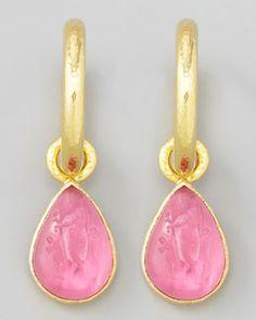 P2594 Elizabeth Locke Pink Intaglio Teardrop Earring Pendants