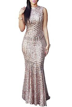 LOSRLY Womens Glitter High Split Sequin Maxi Long Party Evening Dress Prime (Special OFFER)
