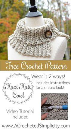 Free Crochet Pattern - Knot Knit Cowl by A Crocheted Simplicity Bufandas  Redondas 888ecd47893