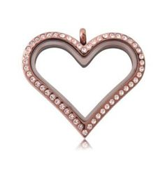 Large RoseGold Heart Locket With Crystals