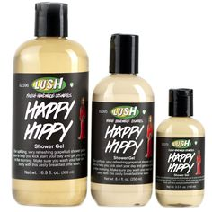 LUSH Happy Hippy Shower Gel (3.3oz - $9.95, 8.4oz - $18.95, 16.9oz - $28.95)  Our grapefruit shower gel is one of our happiest shower gels: a magic potion to make the even the office seem inviting on Monday mornings. A perfect way to start the day, Happy Hippy remains one of our best-sellers because it smells absolutely delicious: bursting with fresh, juicy organic pink grapefruits to cleanse away grime, refresh your skin and make you feel brighter all over.