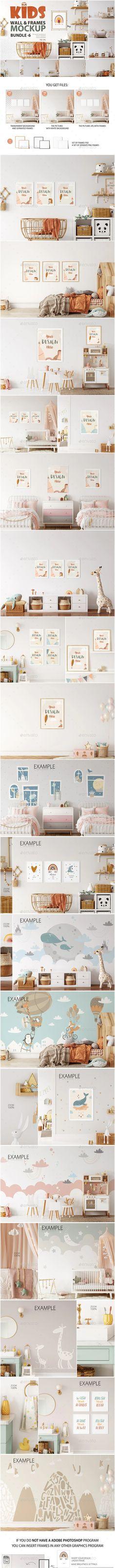 Kids Frames & Wall Mockup Pack - 6 by Feverik   GraphicRiver