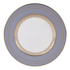 Anthemion Blue Dinner Plate by Wedgwood Bentley Deliberately opulent, unashamedly elegant, Anthemion Blue china shimmers as its rich cobalt blue background contrasts with lavish gold and delicate neo-classical design elements -- such as the colon Blue Dinner Plates, Blue Plates, Edge Design, Design Elements, Blue Dinnerware, Porcelain Dinnerware, Bering, Classical Elements, China Tea Sets