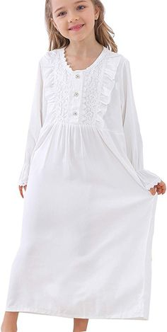 Girls Nightgowns Long Sleeve Vintage White Cotton Nightwear for Kids 3-12 Years